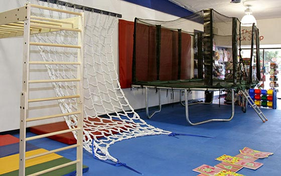 WRTS gym interior rope ladder trampoline